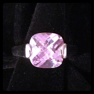 Silver Square Purple Gem Stone Ring